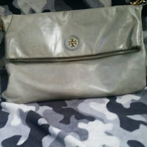 Authentic Tory Burch, Blue-Grey, Leather CB Bag